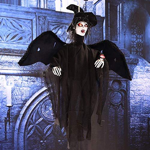 �ngende Geister Arrangierte Requisiten, Augen Glühende Stimme Kontrolle Geister, Hängend Animierte Sprechende Hexe Halloween Haunted Haus Prop Dekor, Schwarz, 62 * 65 cm ()