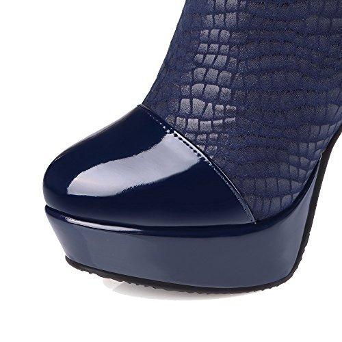 VogueZone009 Damen Ziehen Auf Schließen Zehe Wasserdicht Plattform Mitte-Spitze Stiefel Blau