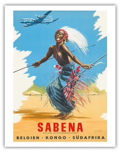 Pacifica Island Art Belgien Kongo Sudafrika (Belgien Kongo Südafrika)-Sabena Fluggesellschaften-African Tribal Dancer-Vintage Airline Travel Poster von CJ Pub c.1950s-Kunstdruck 11