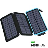 FEELLE Solar Charger 24000mAh, Solar Power Bank with 2 USB Ports Waterproof Portable External Battery Compatible with Smartphones, Tablets and More