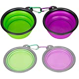 Collapsible Travel Silicone Pet Bowl, Set of 2,IDEGG®, Food Grade Silicone BPA free, Foldable Expandable Cup Dish for Pet Dog/Cat Food Water