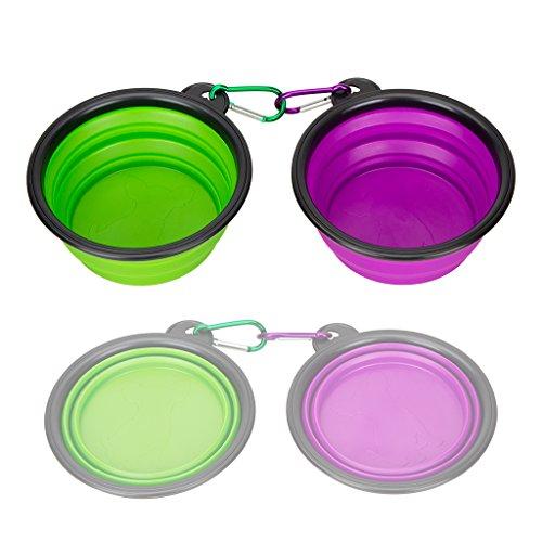Reisenapf Silikon Pet Bowl, Set 2, idegg® Lebensmittelechtes Silikon, BPA-frei, Faltbare Erweiterbar Cup Dish für Haustier Hund Katze Lebensmittel Wasser Füttern tragbar Reise Schüssel