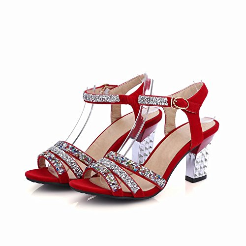 MissSaSa Donna Sandali col Tacco Metà Luxurious Rosso