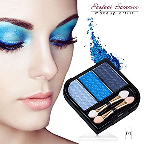 Perfect Summer 3 Colors Blue Eyeshadow Palette Glitter Makeup Waterproof Foundation #004-Blue Koi/Blue Dress/Sapphire Blue,5.6g