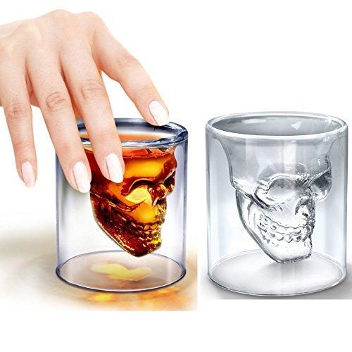 s Glas Sprüche für Shot Likör mit Schablone-Totenkopf TYP Glas-74ml-2Stück ()