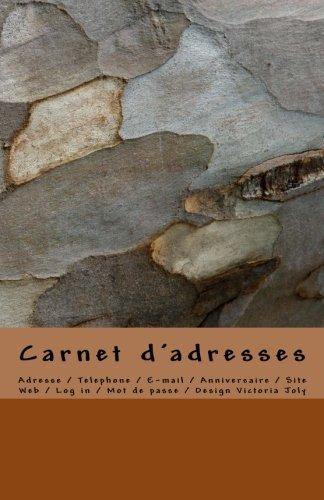 Carnet d'adresses: Adresse / Telephone / E-mail / Anniversaire / Site Web / Log in / Mot de passe / Marron par Victoria Joly