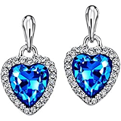 NEOGLORY Pendientes de Corazón Amor Love Heart con Cristal Azul Hipoalergénico Joya Original Regalo Mujer Chica