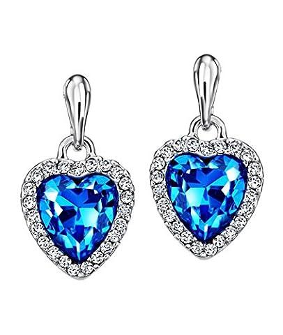 Neoglory Jewellery Blue Crystal Czech Rhinestone White Gold Plated Heart Shaped Dangle Earrings
