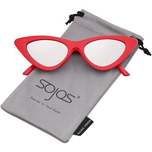 SOJOS Katzenauge Rahmen Mode UV-Schutz Damen Sonnenbrille Cat Eye SJ2044 mit Rot Rahmen/Silber Verspiegelte Linse