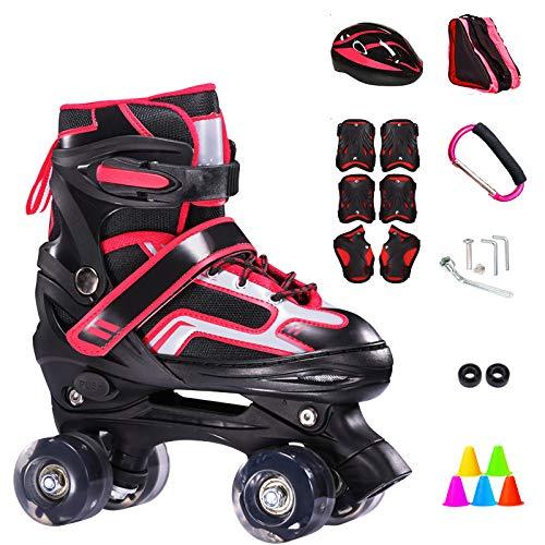 ZCRFY Inline-Skates Rollschuhe Verstellbare Zweireihige 4-Rad-Kinder Inline-Skates Roller Für Anfänger 2-15 Jahre Alte Kinder Eisschuhe Geburtstagsgeschenke,Red-M(33-37) Code-Set1