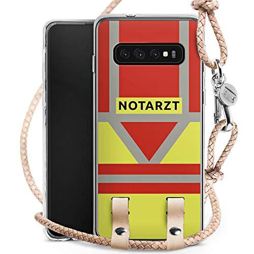 DeinDesign Carry Case kompatibel mit Samsung Galaxy S10 Plus Handykette Handyhülle zum Umhängen Notarzt Rettungssanitäter Rettungsdienst