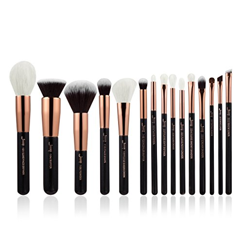 Jessup professionelles Make-up-Pinsel-Set, 15-teilig, rotgold/schwarz, Grundierpinsel, Puderpinsel,...