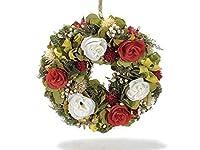 Ghirlanda floreale da appendere, Misure: Ø 24 cm (c/cordino 32), Materiale: Legno, Utilizzo: Ghirlande