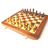 Solid Sheesham Wood Inlaid Folding Chess Set + Instructions
