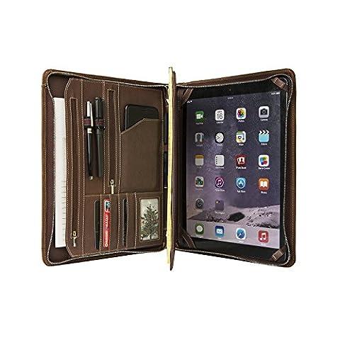 Coface Vintage Crazy Horse Carnet de portefeuille en cuir véritable Portefeuille professionnel Organiseur professionnel pour papier surface 3/4 et A4