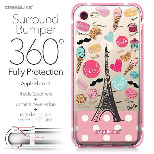 CASEiLIKE iPhone 7 Hülle, iPhone 7 TPU Schutzhülle Tasche Case Cover, Comic Beschriftung 2914, Kratzfest Weich Flexibel Silikon für Apple iPhone 7 Paris Ferien 3904