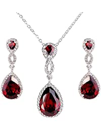 Ever Faith® Cristal Circonita boda collar hebilla pendientes PARURES