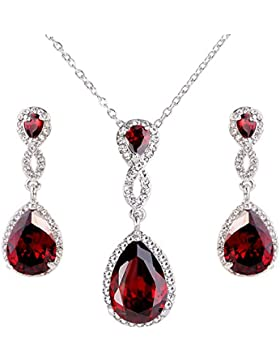EVER FAITH® Zirkonia Kristall Art Deco Träne Form elegant Schmuck-Sets Rot Silber-Ton N02478-4