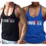 Alivebody Herren Bodybuilding Tank Top Strap Fitness Stringer Achselshirts Schwarz+Blau S