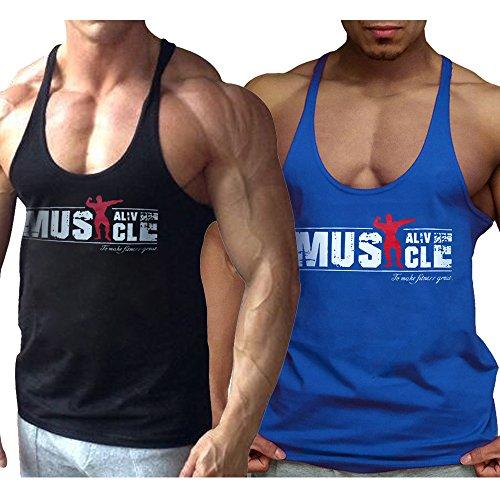 Alivebody Herren Bodybuilding Tank Top Strap Fitness Stringer Achselshirts Schwarz+Blau L