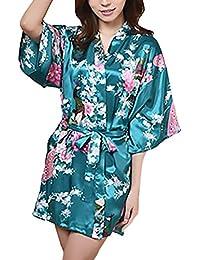 HX fashion Pijamas Mujer Kimono Corto Verano Elegante Vintage Sencillos Diario Flores Estampado Albornoz Batas Camison