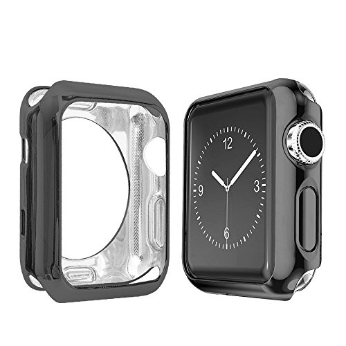 Apple Watch 2 Case 42mm, galvanizado TPU resistente a los arañazos caso delgado protector ligero para Apple Watch Serie 1, Serie 2, 42MM Negro