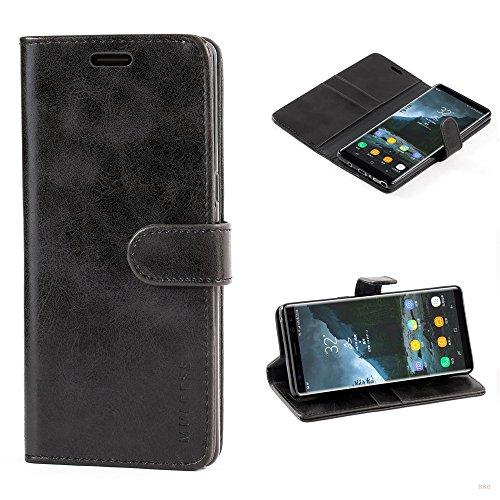 Mulbess (Vintage bookstyle) Premium Handy Schutzhülle Ledertasche im Kartenfach für Samsung Galaxy Note 8 (6,3 Zoll) Tasche Hülle Leder Etui Schale,Schwarz