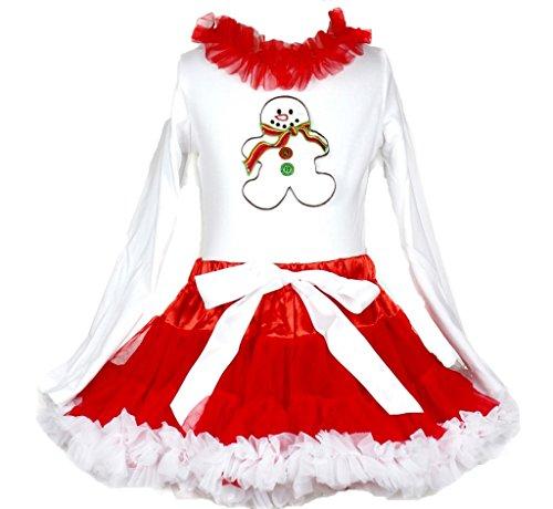 Weihnachten Kleid Ginger Schneemann weiß Baumwolle L/S SHIRT SOLID RED ROCK Set-74bis 122 Gr. XS, Weiß / Rot