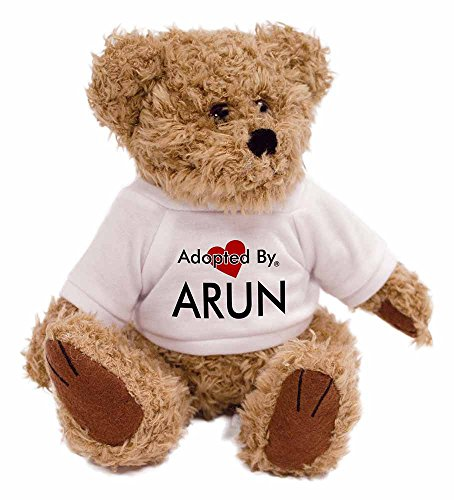 adopted-by-arun-teddy-bear-wearing-a-personalised-name-t-shirt