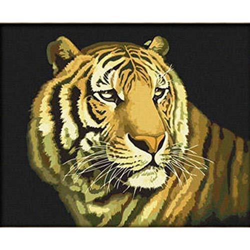 Kostüm Tiger Schnee - RYUANYUAN Abstrakte Zeichnungs-Malerei Durch Zahlen Schnee-Tiger-Familienölgemälde Durch Zahlen, Die Durch Zahlen Färben Malen Durch Zahl 16x20 inch (40x50 cm) Rahmenlos