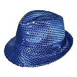 Adulte / Enfants Coloré Déguisement Sequin Chapeau Borsalino - Bleu Roi, One Size