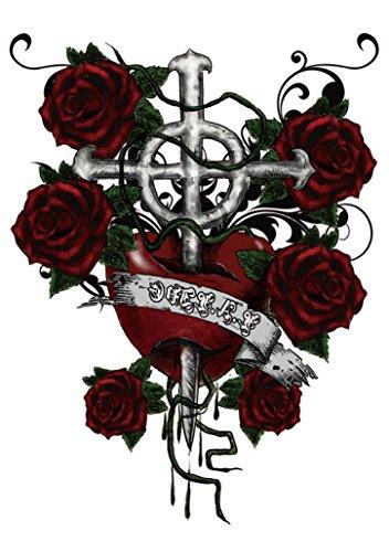 Oblique Unique Tatto Tättowierung echter Look Skin Totenkopf Rosen Dragon Buddha - Model (Heart Cross Roses)