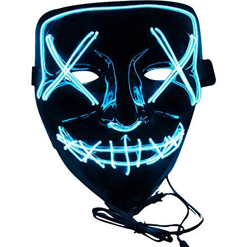 e LED Beleuchtung EL Wire Maske Purge Mask für Cosplay Festival Party Halloween Kostüm Erwachsene,EIS Blau ()