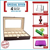 #7: New Qualified 12 Slots Wrist Watches Jewelry Display Storage Organizer Leather Box Case ( Festival Offer- 4 items FREE with this product)