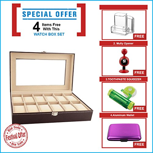 New Qualified 12 Slots Wrist Watches Jewelry Display Storage Organizer Leather Box Case (Color as available) ( Festival Offer- 4 items FREE with this product)