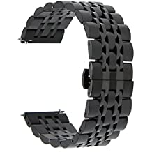 TRUMiRR 22mm Rapido Fibbia Cinturino A Sgancio del Cinturino in Acciaio Inox A Farfalla per Samsung Gear 2 R380 R381 R382, Gear S3 Classic Frontier, Moto 360 2 46 mm, Asus ZenWatch 1 2 Uomini, Ciottolo Tempo, LG