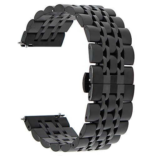 wechsel Armband Edelstahl Schmetterling Gürtelschnalle für Samsung Gear 2 R380 R381 R382, Getriebe S3 Classic Frontier, Moto 360 2 46mm, Asus ZenWatch 1 2 Herren, Pebble Time, LG (Halloween Grenze Design)