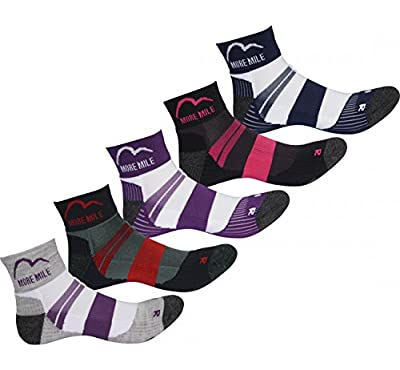More Mile Endurance Ladies Pack of 5 Coolmax Running Socks