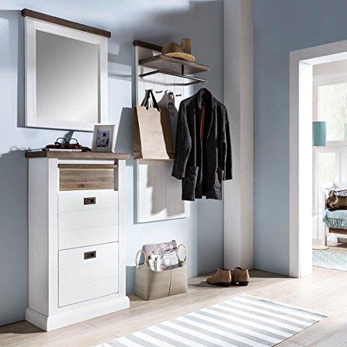 Garderobe Wandgarderobe Flurgarderobe Loft, Massivholz Holz Akazie massiv, Landhausstil Weiß /