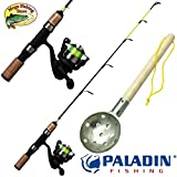 PALADIN Fishing Eisangel Set Pro - Profi Eisrute + Stationärrolle + Eisschöpfer - EIS Angelset Combo
