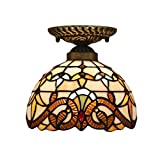 Lámpara de techo Lámpara de pasillo Tiffany Lámpara de pasillo, Lámpara de techo Pantalla redonda de vidrio, Luz de techo de estilo rústico clásico, 1 bombilla E27 Iluminación de techo con casquillo,