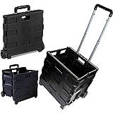 25kg Folding Shopping Trolley Storage Boot Cart Box Crate Car Van Camping Black Aluminium Handle With Plastic Grip Lightweight Durable & Rustproof Brand New