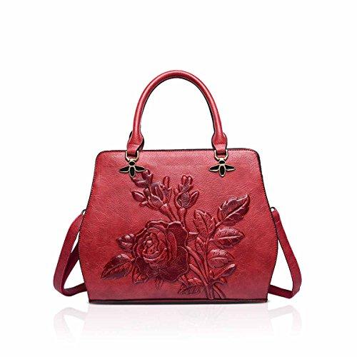 NICOLE & DORIS Womens PU-Leder 3-dimensionale Drucken Vintage Schultertasche Damen Handtaschen Tote, Geldbörse Rot Womens Doris