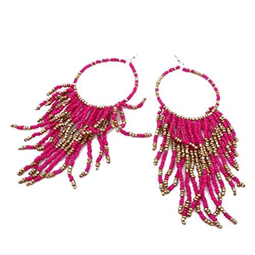 Mujers Pendientes,Xinan Bohemio Flecos Largo Granos Grandes Los Pendientes de Gota Colgante (Rosa)