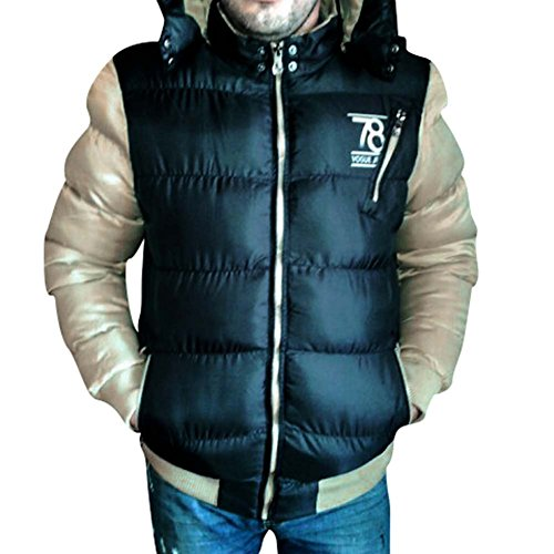 Highdas Herren Jacken Warm Baumwolle Mantel Hooded Outwear Dicken Parka Mantel Schwarz