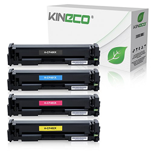Kineco 4 Toner kompatibel zu HP Color Laserjet Pro M252dw Pro 200 M252n Farblaserdrucker kompatibel zu CF-400X CF-401X CF-402X CF-403X, Schwarz 2.800 Seiten, Color je 2.300 Seiten (Ed-drucker)