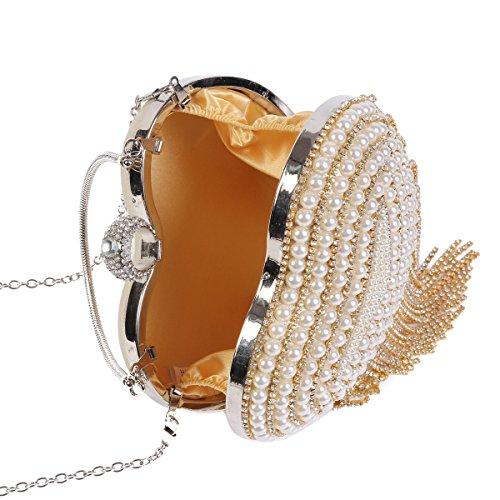 Damara Damen Kunstperlen Glänzende Strass Quaste Handtasche,Silber Gold