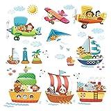 Decowall DAT-1506 Schiffe 3 Doppeldecker Autos Flugzeuge Tiere Wandtattoo Wandsticker Wandaufkleber Wanddeko für Wohnzimmer Schlafzimmer Kinderzimmer