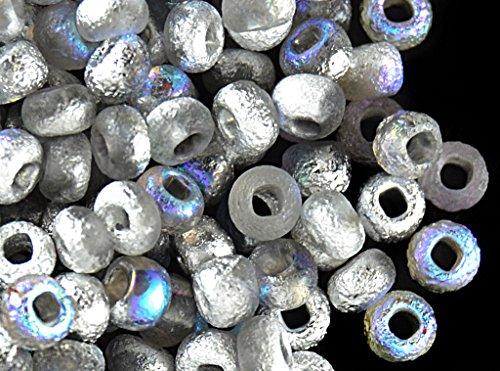 Crystal Finish (10gr (ca. 190 Stk.) 6/0 (3,7-4,3mm) Tschechische Runde Rocailles mit einem einzigartigen Finish Ätzen, Etched Crystal Silver Rainbow)