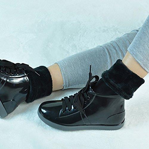 LvRao Frauen Gummi Wasserdicht Schnee Regen Schuhe Kurze Schnürung Flach-Ferse Boots Warm Flach Stiefeletten Gefütterte Schnürstiefel Schwarz mit Socken